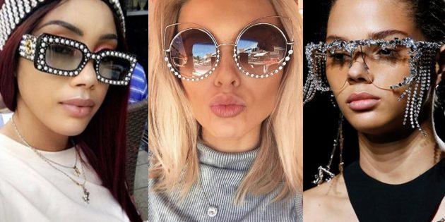 Женские солнцезащитные очки с нарочитым декором