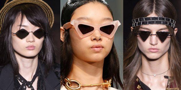 Женские солнцезащитные очки в угловатой оправе