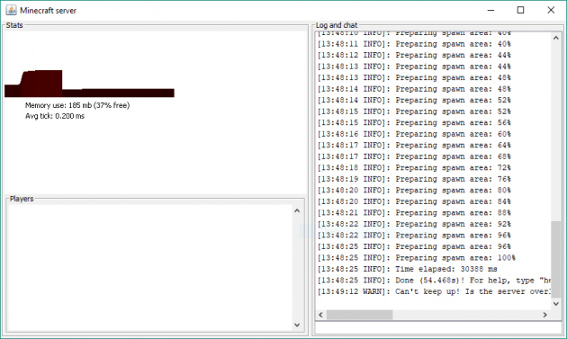 Как создать сервер Майнкрафт: Окно сервера