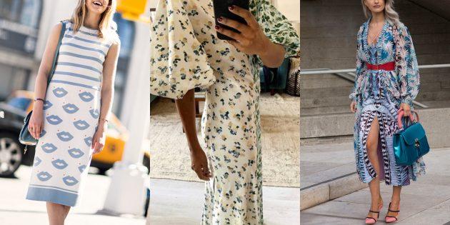 Модные платья 2019года: платья с конкурирующими принтами