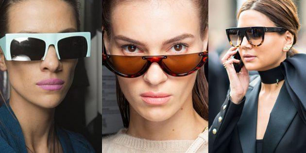 Женские солнцезащитные очки с отчётливой горизонтальной планкой