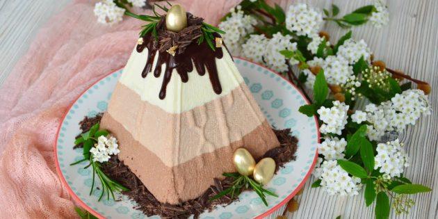 Заварная слоёная творожная пасха с шоколадом