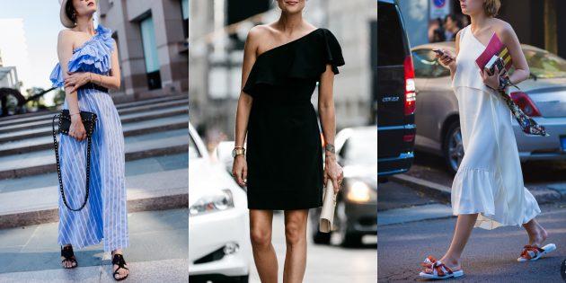 Модные платья 2019года: платья на одно плечо