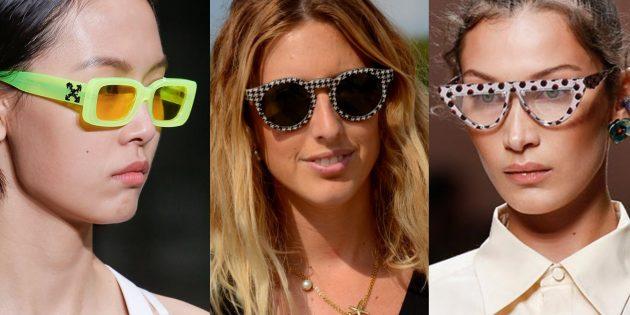 Женские солнцезащитные очки в широкой оправе с яркими принтами