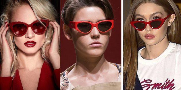 Женские солнцезащитные очки в красной оправе