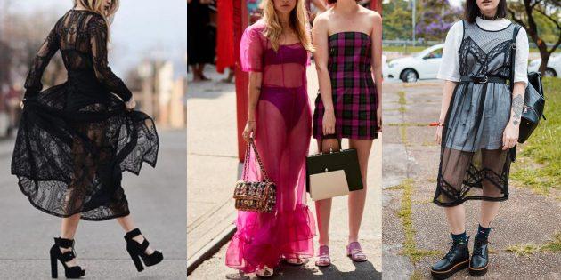 Модные платья 2019года: полупрозрачные платья