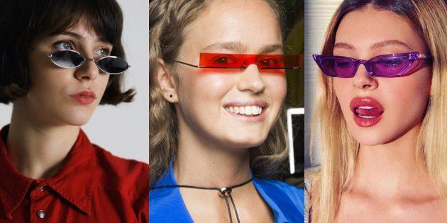 Женские солнцезащитные очки с узкими горизонтальными линзами («тринити»)