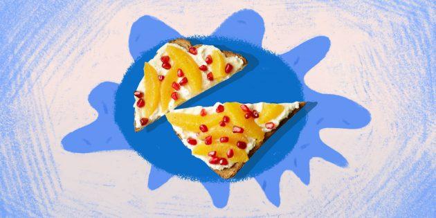 Полезная еда: тост с йогуртом и красным апельсином