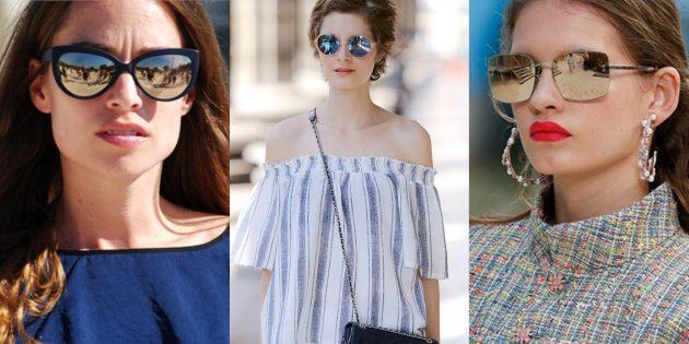 Женские солнцезащитные очки с зеркальными линзами