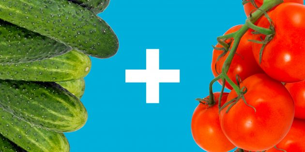 10 аппетитных салатов из огурцов и помидоров