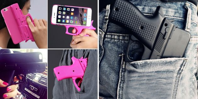 Чехол-пистолет на iPhone