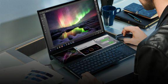 Asus показала ноутбук с двумя 4K-экранами и игровой видеокартой