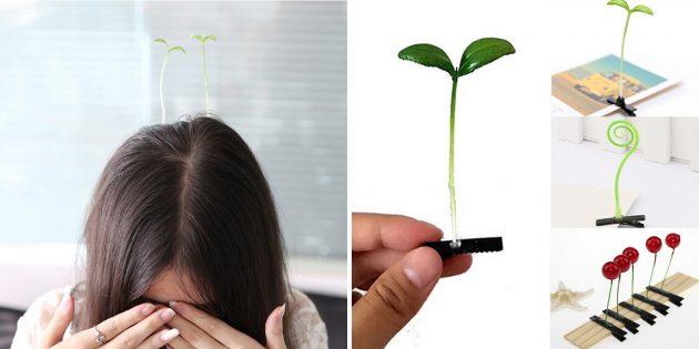 Заколка для волос с ростком
