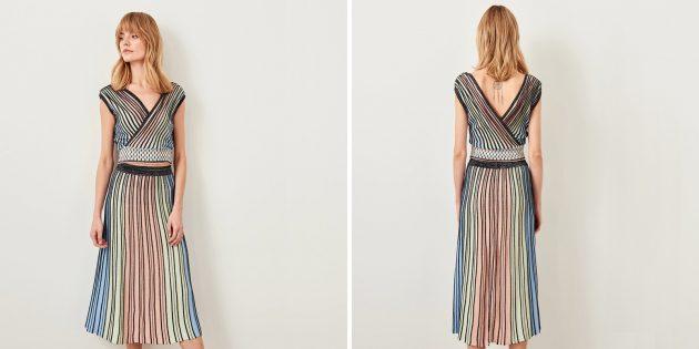 Разноцветные юбка и топ