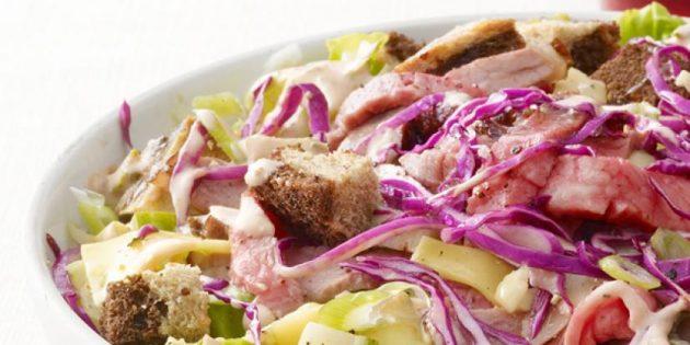 Как приготовить салат с говядиной, капустой, сыром и огурцами