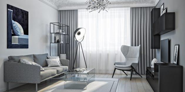 Расположите сбоку от дивана или недалеко от кресла узкий стеллаж