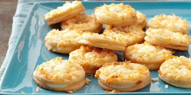 Рецепты: кокосовое печенье с лимонным кремом