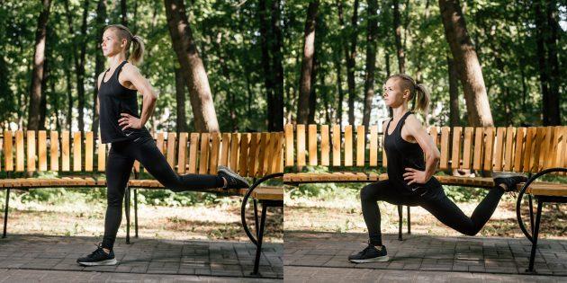 Тренировки на улице: Сплит-приседания с одной ногой на лавке