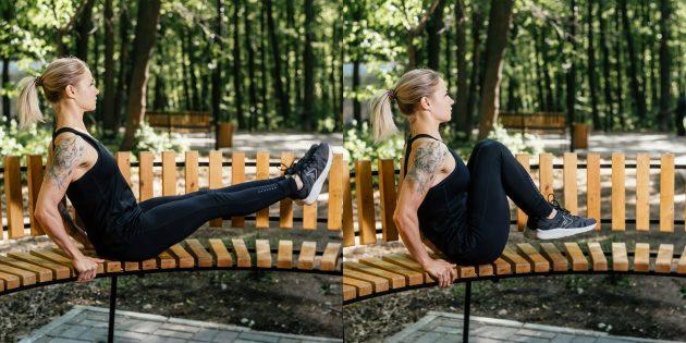 Тренировки на улице: Подтягивание коленей к груди на лавке