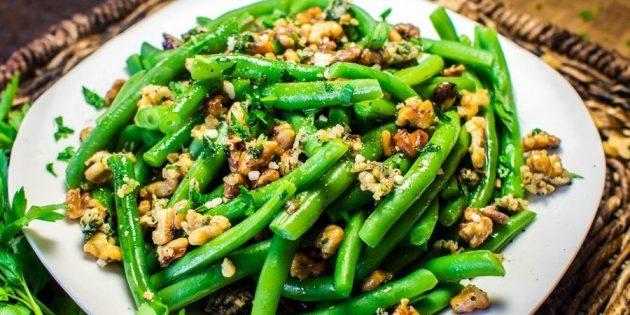 Рецепты: Салат со стручковой фасолью и грецкими орехами