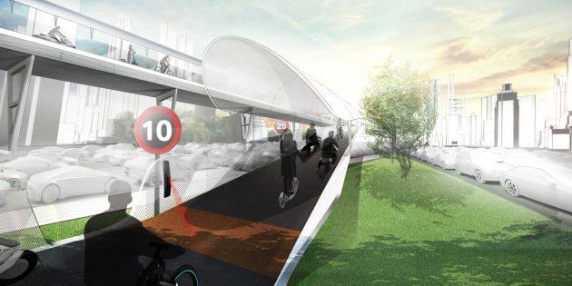 Подвесные велосипедные дорожки