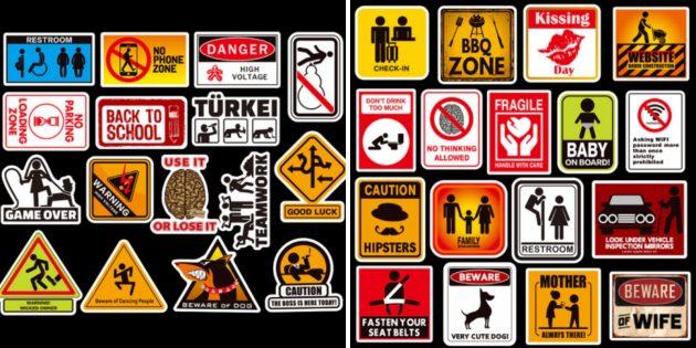 Стикеры с предупреждающими надписями
