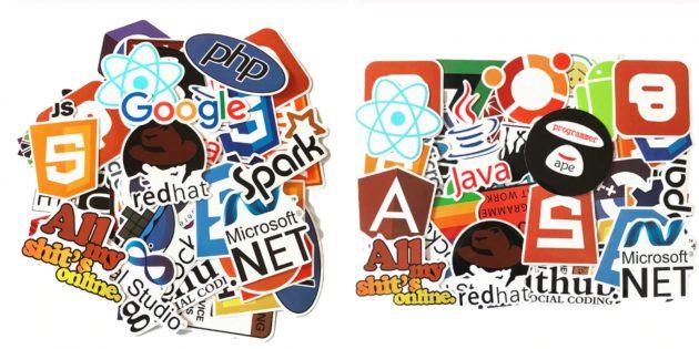 Наклейка на ноутбук с логотипами соцсетей