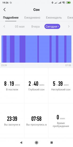Обзор Amazfit Verge: Данные о сне