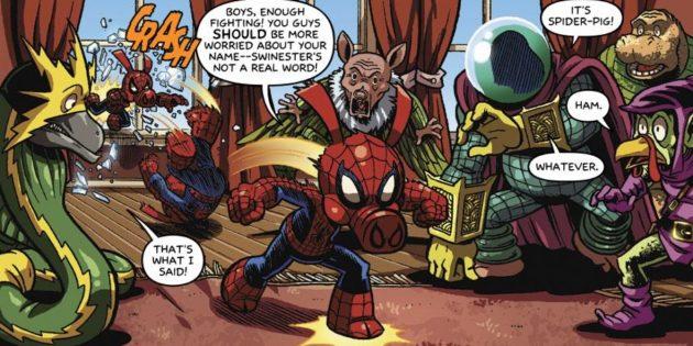 Неожиданные версии супергероев: «Потрясающий Свин-паук» — два животных в одном теле