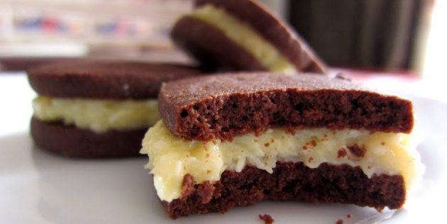 Кокосово-шоколадное печенье с кремом