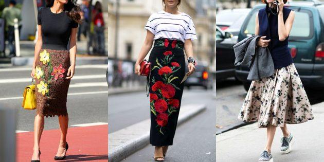 Модные юбки 2019года с цветочными принтами