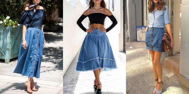 Модные джинсовые юбки 2019года