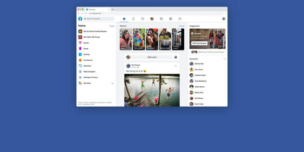 Facebook представила новый дизайн сайта и мобильных приложений
