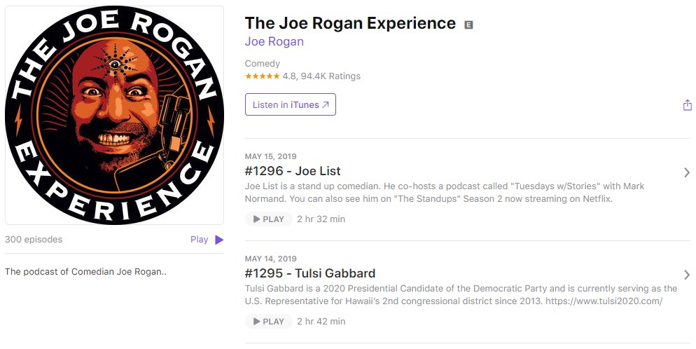 Интересные подкасты: The Joe Rogan Experience