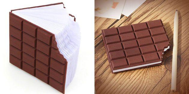 Блокнот в виде покусанной шоколадки
