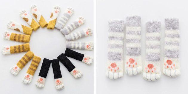 Вязаные носки-лапки на ножки стула