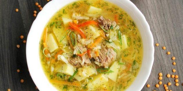 Суп из чечевицы с говядиной и овощами