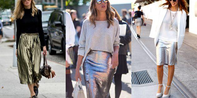 Модные юбки 2019года из металлизированной ткани