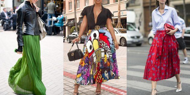 Модные плиссированные макси-юбки 2019года