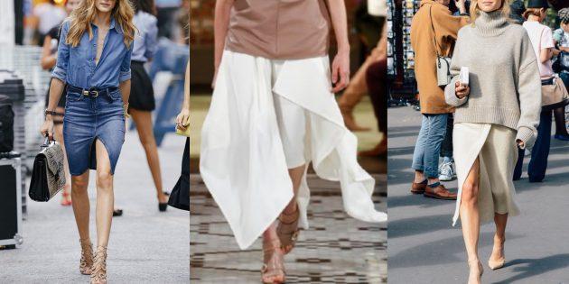 Модные юбки 2019года с разрезом