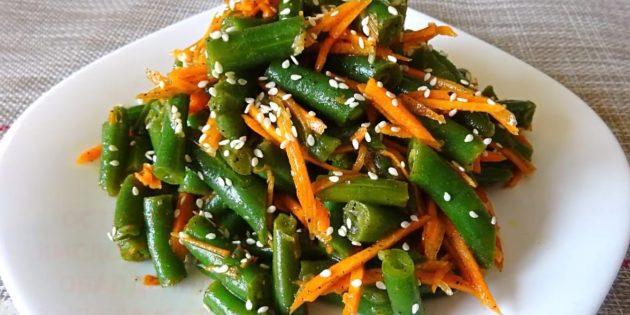 Рецепты: Стручковая фасоль с морковью по-корейски