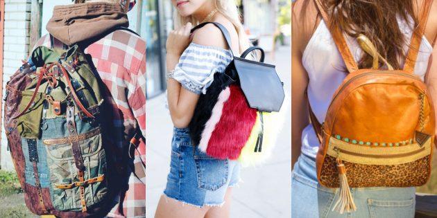 Рюкзак из материалов различных текстур