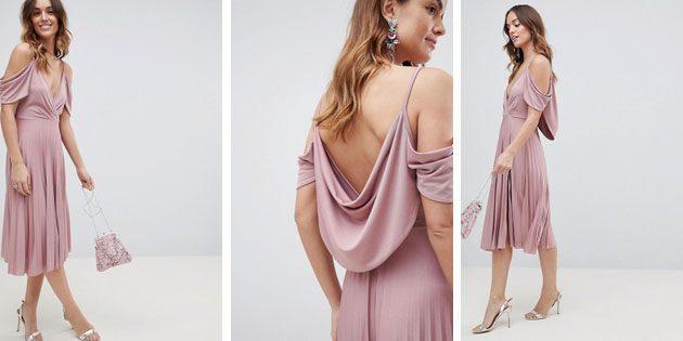 Плиссированное платье миди от ASOS