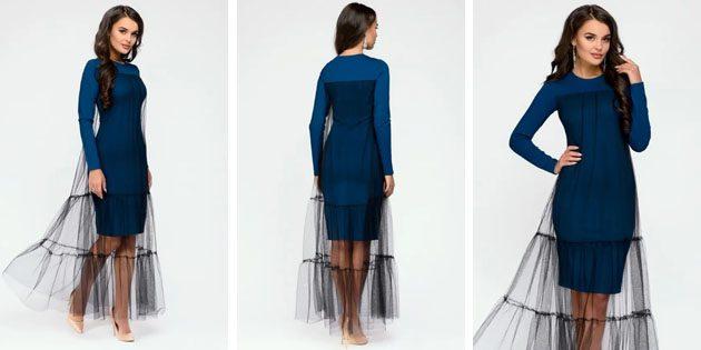 Платье с сетчатым верхом от 1001 dress