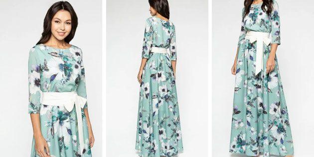 Платье с широким поясом от Eva