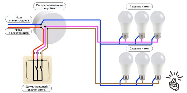 Установка двухклавишного выключателя