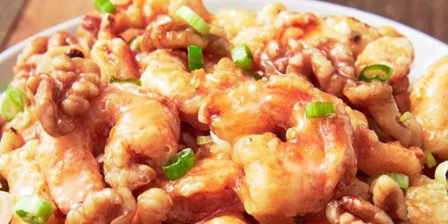 Как приготовить креветки: Медовые креветки с грецкими орехами