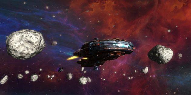 Полёт около астероидов в космическом экшене Rebel Galaxy