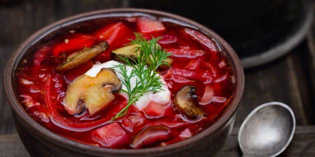 Суп из шампиньонов со свёклой и капустой