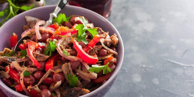 Рецепт салата с говядиной, фасолью и перцем